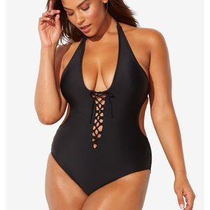 New Ashley Graham Black Swimsuit. Size 18🛍🆕